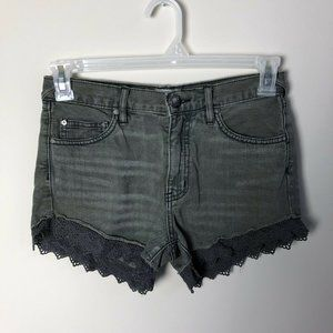 Free People grey lace trim jeans shorts size 25
